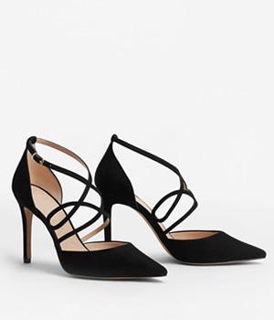 Pantofi Stiletto Mango Cu Barete Subtiri Negri
